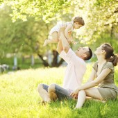 couple in park with child