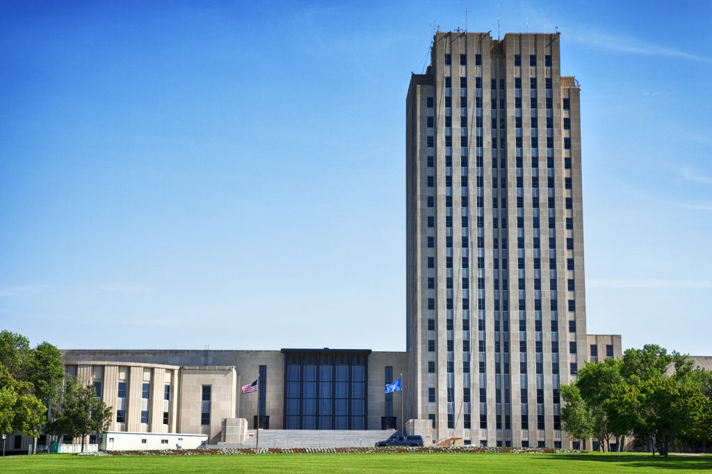 North Dakota state capitol building in Bismarck, ND.